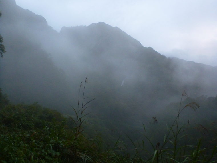 林道からカグラ滝を見る